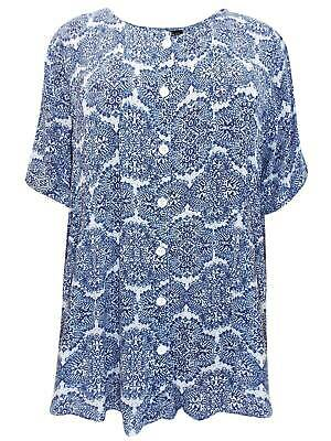 Phool NAVY Printed Short Sleeve Button Through Blouse One size fits up to size28
