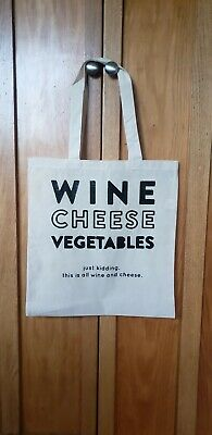 Wine Cheese Vegetables Reusable Grocery Tote Bag