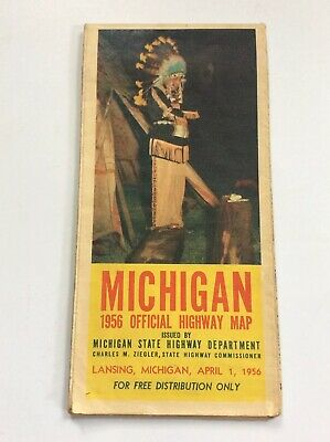 Vintage Michigan Indian Cover Official State Highway Road Map April 1 1956 MI