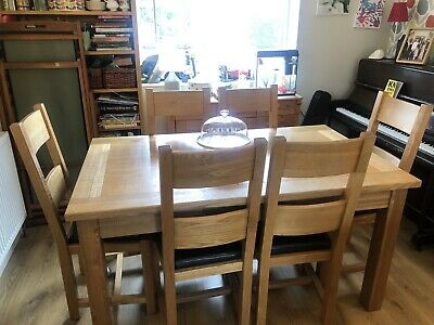 Halo Solid Oak Extending Dining Table And 6 Chairs