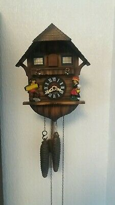 West German Black Forest Cuckoo Clock, Small Hand-Carved Chalet Style