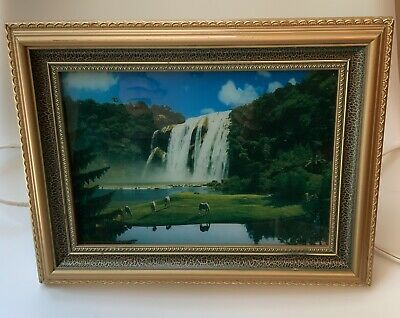 LIGHTED WATERFALL FRAMED Picture Vintage Wall Art Sound