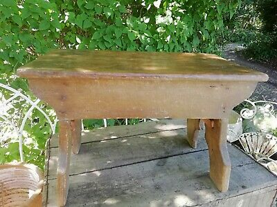 Antique Victorian Wooden Country Crafted Pine Foot Step Stool C1870 41cm Long