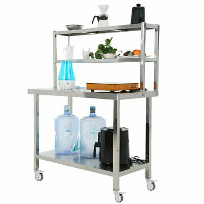 Commercial Catering Table Work Bench Kitchen Worktop with Two Shelf & Wheels UK