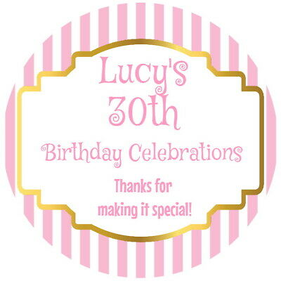Personalised Gloss Celebration 30Th, 40Th,50Th Birthday  Party Stickers Any Age