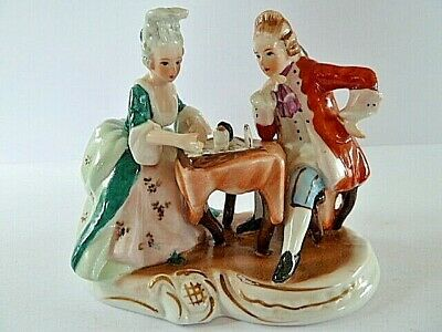 GERMAN DRESDEN PORCELAIN FIGURINE--THE CHESS PLAYERS--13cm TALL