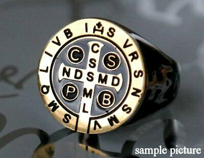 size 12 St Benedict Exorcism Ring protection ring Fisherman Vatican Church cross