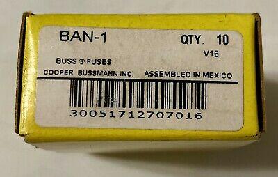 BRAND NEW(Box of 10)Bussmann(BAN-1) 1A 250V Fast Acting Midget Fuse SHIPS FREE