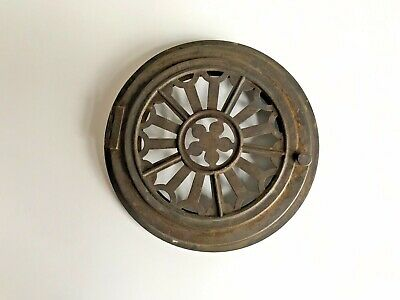 Antique Vintage Brass French Clock Pierced Rear Hinged Door 105mm Diameter