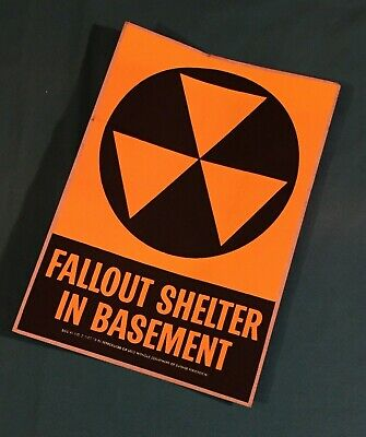 Fallout Shelter In Basement Original 1960's DOD Decal Sticker 9.5 x 7 Sign Rare