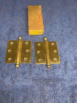 2 Vintage Nos Sharon 3 X 3 Dull Brass Ball Top Hinges