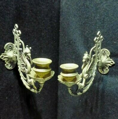 Pair Antique French Brass Wall Sconces. Candle Holders. Dragons.