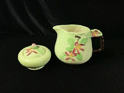 Vintage Carlton Ware Australian Design Leaf Apple Blossom Pottery Cream & Sugar