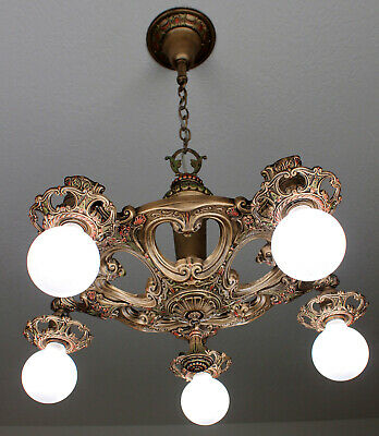 LARGE BRASS 20's Deco Victorian Antique Vintage Ceiling 5 Light CHANDELIER