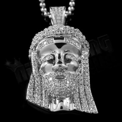 18k White Gold MINI JESUS PIECE Flooded Out Iced Simulated Diamond Chain 2S