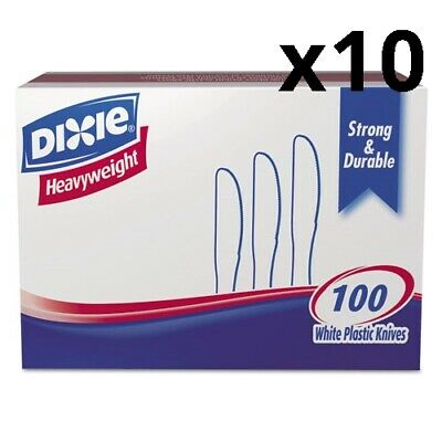 Plastic Cutlery, Heavyweight Knives, White, 100/Box, Pack of 10