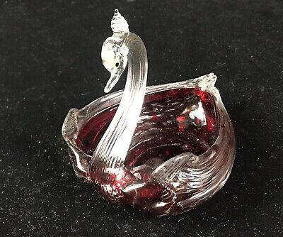 Studio Art Glass Hand Blown Swan Dish, Clear Applied To Ruby Red Base