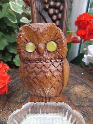 Antique Art Deco Wooden Hand Carved Owl Ashtray Yellow Eyes Glass dish