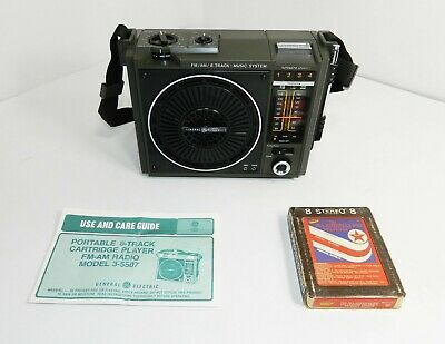 VINTAGE GE General Electric 8 Track Portable Music System Black & Silver 3-5507C