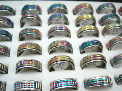 Wholesale 50pcs Mix Lots Fashion Stainless Steel Spinner multi-color Band Rings