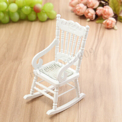 Dollhouse Miniature Furniture 1:12 Wooden Rocking Chair White Gift Toy Kid