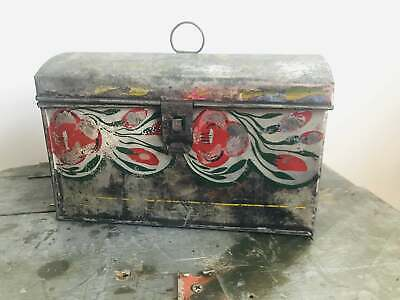 Antique Hand-Painted Toleware Tin Box with Dome Lidded Top Hinged Lid & Latch
