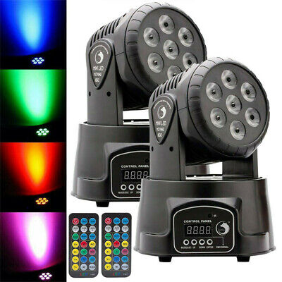 2Pcs 70W Moving Head Stage Lights RGBW LED DMX Show Disco Party Lighting Remote