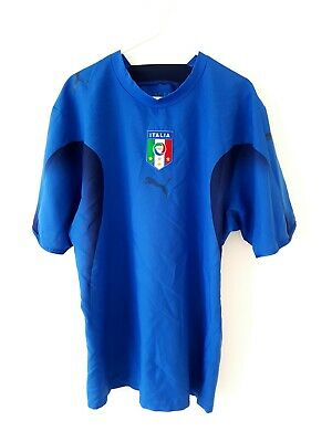 Italy Home Shirt 2006. Medium. Puma. Blue Adults Short Sleeves Football Top M.