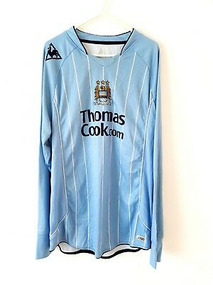 Manchester City Home Shirt 2007. Large. Blue Adults Long Sleeves Football Top L.