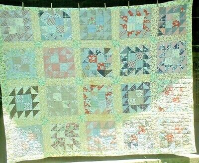 Antique Vintage 1930S Feedsack 4-Patch Goose Chase Folk-Art Patchwork Quilt Wow