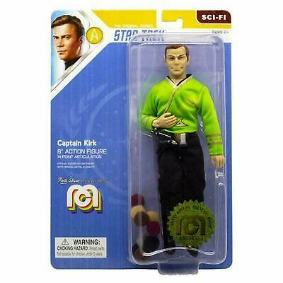 "Star Trek Mego Captain Kirk in Green Shirt 8"" Action Figure with Tribbles NIB"