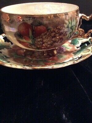 Royal Sealy China Ornate 3 Footed Fruit Tea Cup & Saucer Iridesent
