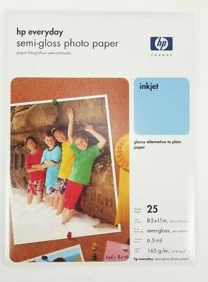 "NEW Sealed HP Everyday Photo Paper Semi-Gloss 8.5""x11"" 25 Sheets Ink Jet Q5498A"