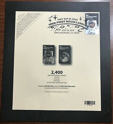 Deck card for 2019 1969 Moon Landing 50th forever stamp with FDOI cancel