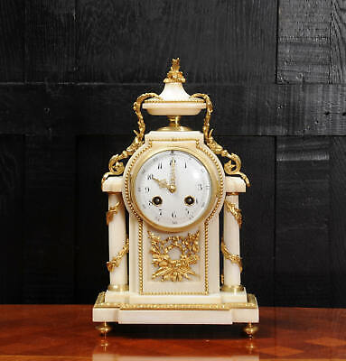 Antique French Ormolu and White Marble Boudoir Clock