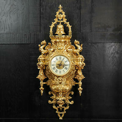 Huge Antique French Cartel Wall Clock With Dragons Stunnign Quality