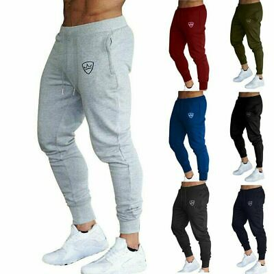 Men Slim Fit Tracksuit Sport Gym Pants Jogging Skinny Joggers Sweat Trousers