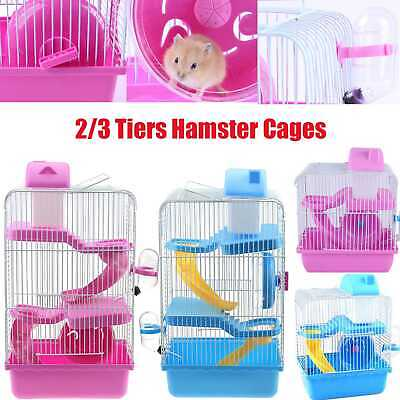 Pet Hamster Cage Small Gerbil Mouse Mice Cage 2 or 3 Storey Levels Hutches Pink