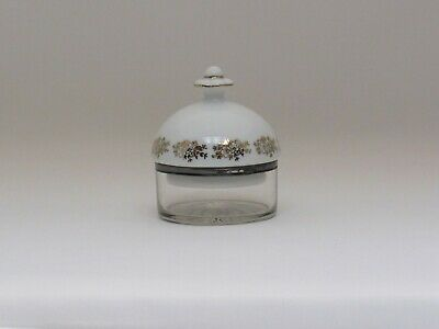 Antique Porcelain Cut Glass And Silver Plated Rim Vanity ~ Trinket ~ Sewing Jar