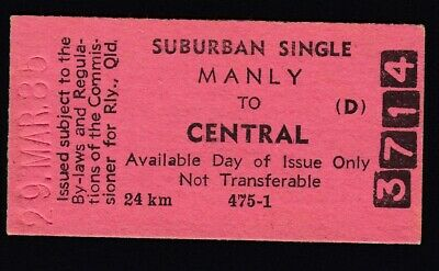 "Queensland Railways Train Ticket   ""Manly To Central"""