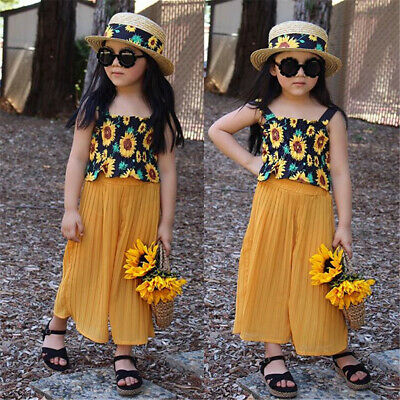 2PCS Toddler Kids Baby Girl Summer Clothes Floral Tops+Long Pants Outfits AU