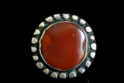 Beautiful Huge Roman Carnelian Set in Uzbek Antique Solid Silver Ring