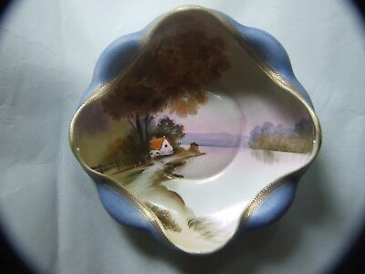 Antique Noritake Fluted Edge  Hand  Painted Bowl Japan Vintage C.1920's