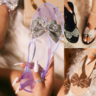 Women Ladies Flat Jelly Diamante Bow Slippers Sandals Toe Thong Flip Flops Shoes