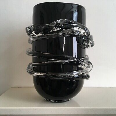 Vintage Large Hand Blown Murano Sculpture/Vase in Black and Clear Glass.