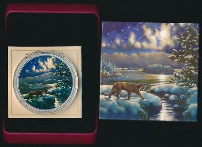 Canada 2017 $30 62.67g 99.99 Silver Coloured Coin Animals in Moonlight Cougar
