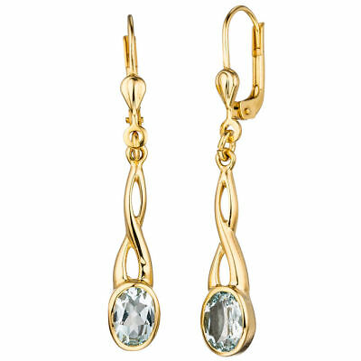 Earrings Boutons from 585 Yellow Gold with Aquamarine Light Blue Earrings,Ladies