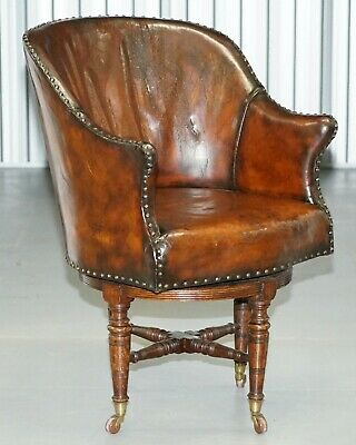 Rare Victorian Hampton & Son's Stamped Hand Dyed Brown Leather Captains Chair