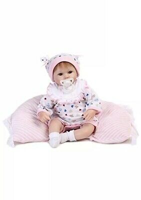 14 Inch 36cm Reborn Dolls Soft Silicone Real Baby Girl With Nappy Pink Pillow