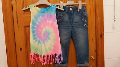 "BNWT Girls Next ""Tie & Dye"""" Top and embriodered Jeans Outfit 2-3 Years"